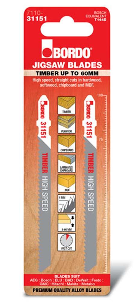 BORDO JIG SAW T-SHK HCS TIMBER UP TO 60MM 2PK