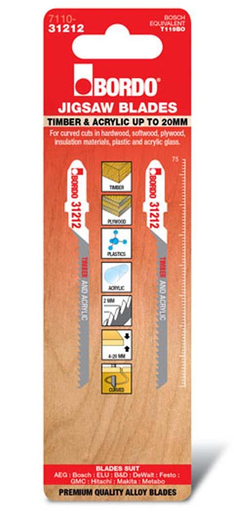BORDO JIG SAW T-SHK HCS TIMBER ACRYL CURVE CUT 2PK