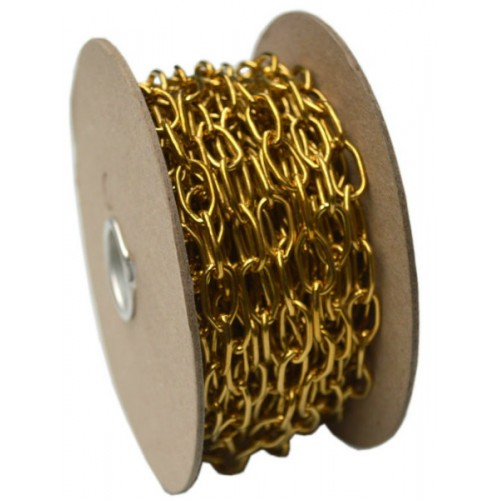 CHAIN OVAL LINK BRASS R242 10M 1/2in   OVAL LINK Brass R242 10M 1/2in