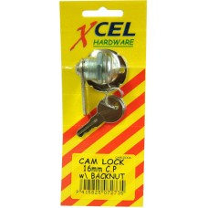 CAM LOCK 16mm XCEL Chrome Plated WITH BACKBUTwith backnut