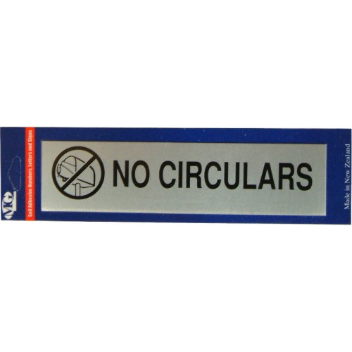 Aluminium Signs Self Adhesive   NO CIRCULARS EA