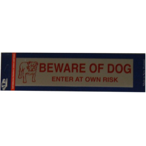 Aluminium Signs Self Adhesive   BEWARE OF DOG EA