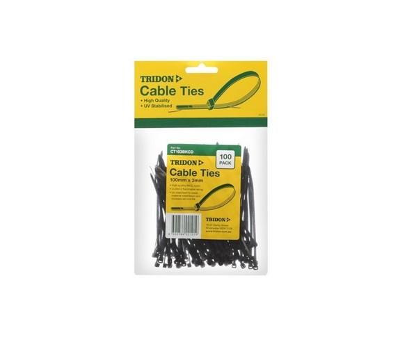 Tridon 400 x 8mm Black Cable Tie Pack (100pcs)
