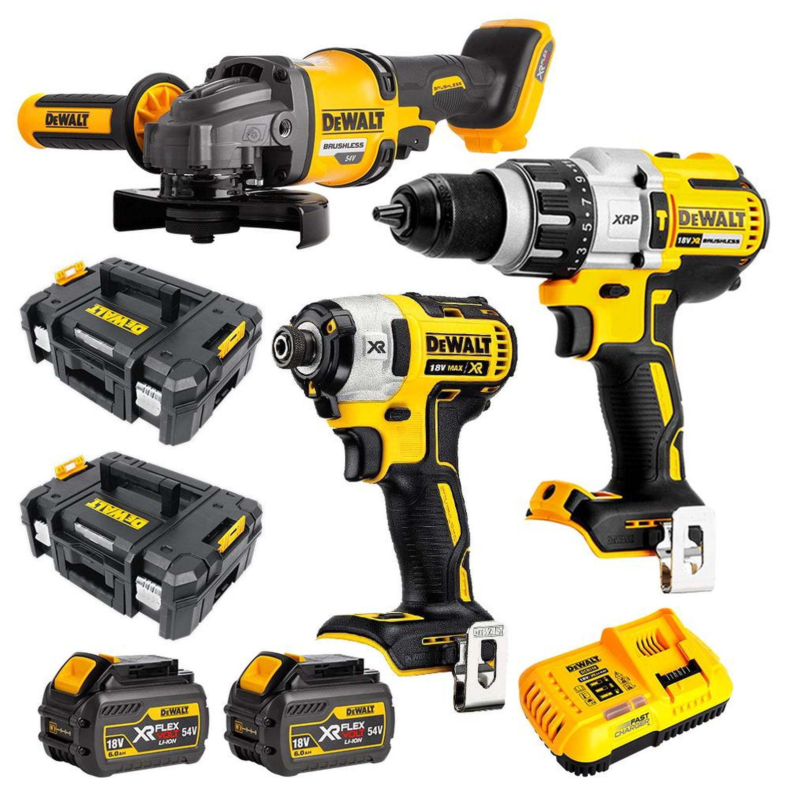 Dewalt 18V/54V Li-Ion 3pc Kit 6Ah XR FV TSTAK