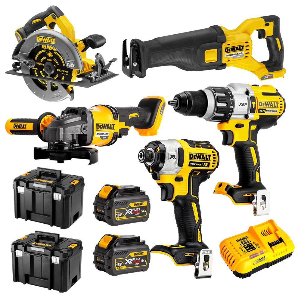 Dewalt 18V/54V Li-Ion 5pc Kit 6Ah XR FV TSTAK