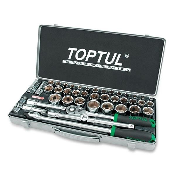 TopTul Socket Set AF/Metric 1/2in Drive 43pc