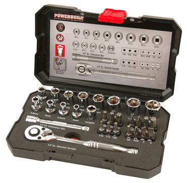 "Powerbuilt Socket & Bit Set 30pc 1/4"" Drive"