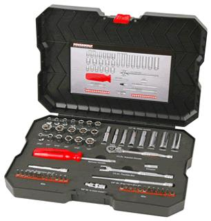"Powerbuilt Combination Socket Set 1/4"" 58pc"