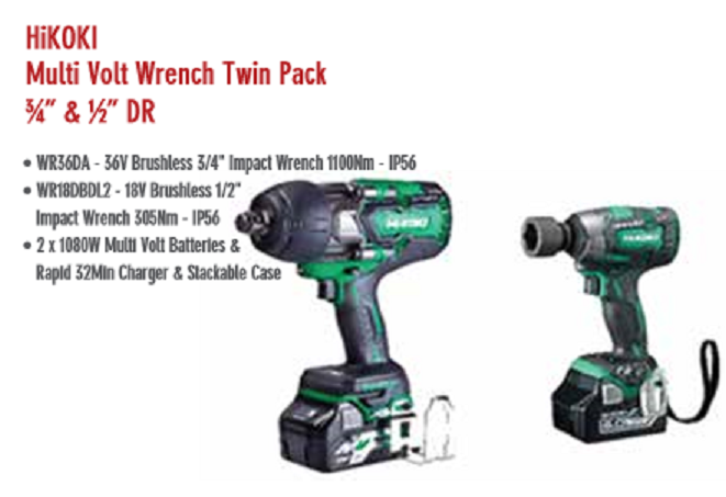 "HiKOKI Multi Volt Wrench Twin Pack ¾"" & ½"" DR"