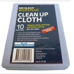 160GSM CLEAN-UP CLOTH 30 X 40CM (10PK) - BLUE