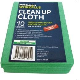 160GSM CLEAN-UP CLOTH 30 X 40CM (10PK) - GREEN