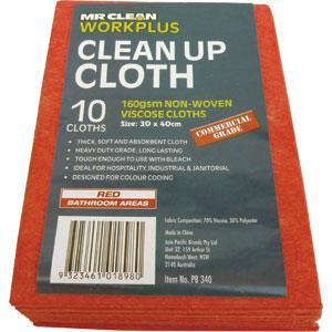 160GSM CLEAN-UP CLOTH 30 X 40CM (10PK) - RED