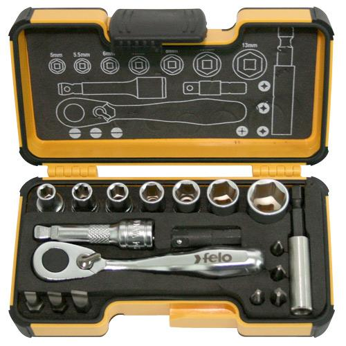 "Felo 1/4"" Dr Bit Socket Set - 18pc"