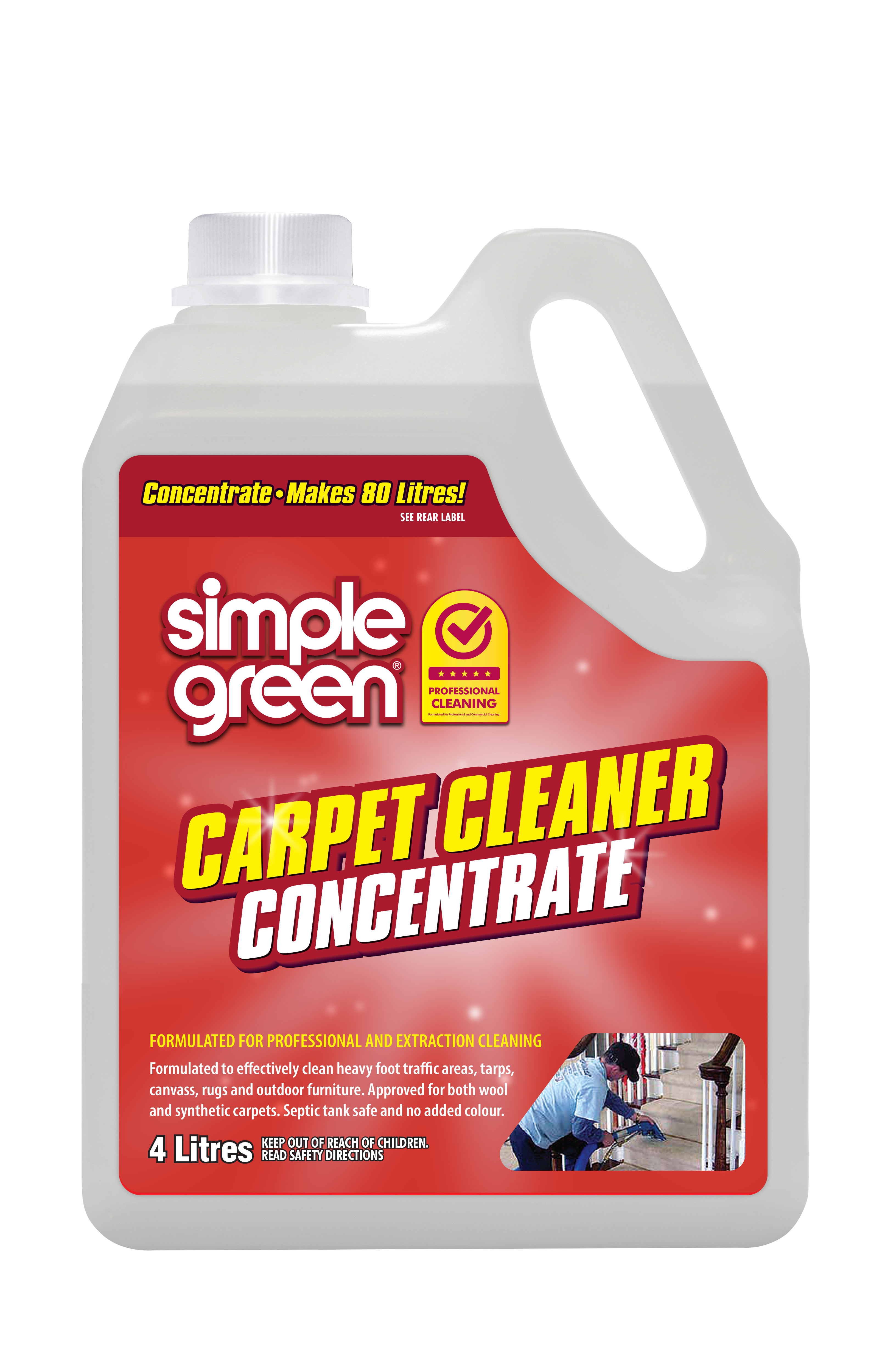Simple Green Commercial Carpet Cleaning Concentrate 4L - Pack of 4