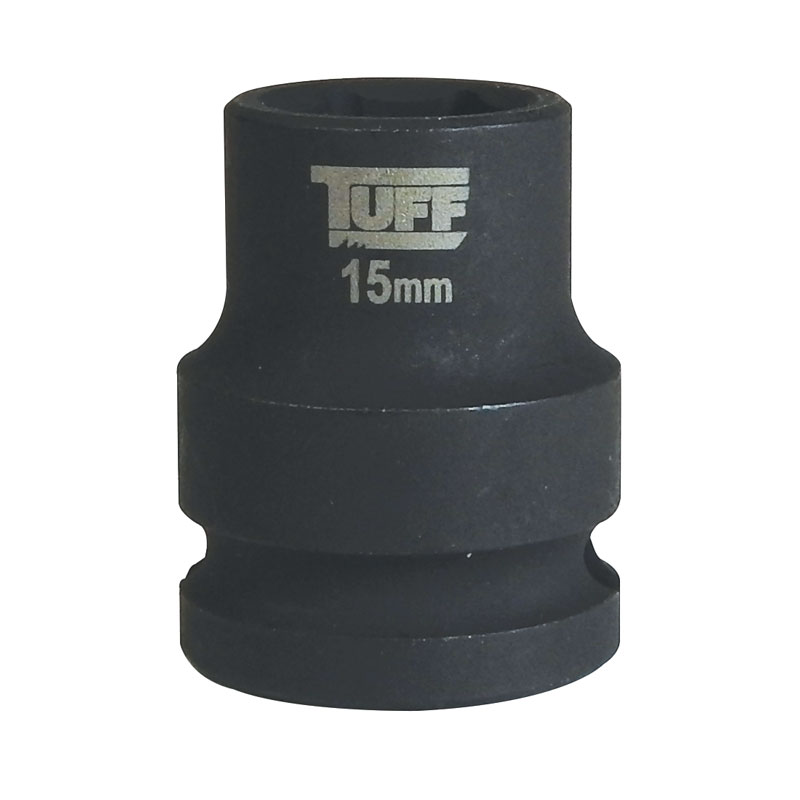 "TUFF Impact Socket 15mm x 1/2"" Short - 6 Points"