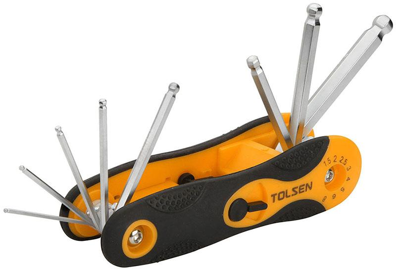 TOLSEN 8pce FOLDING BALL POINT HEX KEY SET