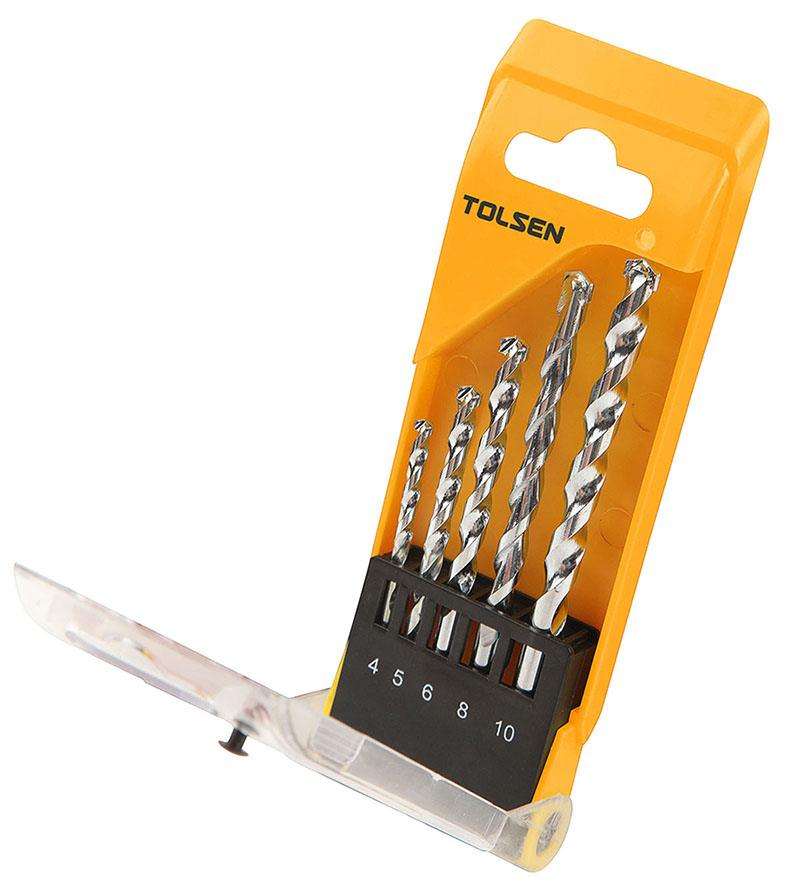 TOLSEN 5pce MASONRY DRILL BIT SET 4, 5, 6, 8, 10mm