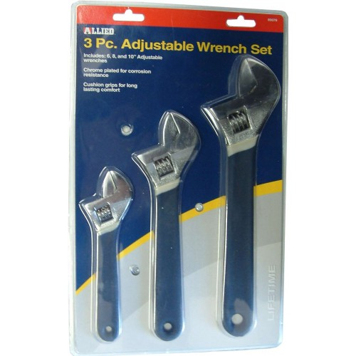 ADJUSTABLE WRENCHES Allied #89076   3-PCE SET