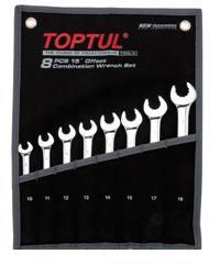 TOPTUL 8pc COMBINATION SPANNER SET 15deg Offset
